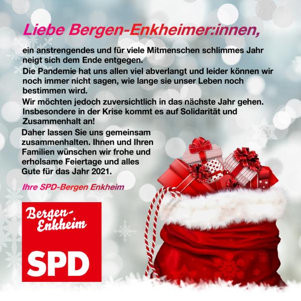 Die SPD-Bergen-Enkheim wünscht frohe Weihnachten!